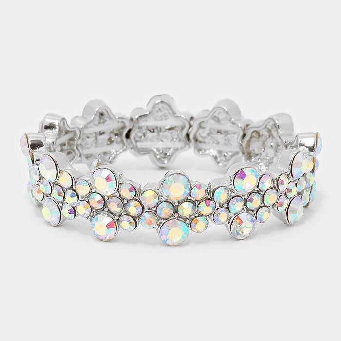 """ Bubble Pop "" AB Iridescent Stretch Statement Bracelet in Silver Tone"