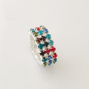 """ Line Em' Up""  3 Row Mixed Jewel Color Stretch Ring On Silver Tone"