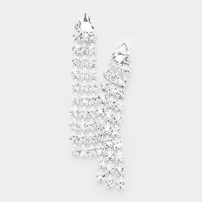 """ White Lightning "" Clear Rhinestone Drop Fringe On White Metal Finish"