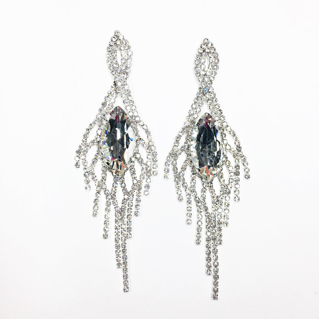 """ Divinity "" Twisted Fringe Clear Crystal Rhinestone Marquise Earrings Silver Tone"