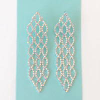 """ Stunner "" AB Iridescent Rhinestone Earrings On Silver Tone"
