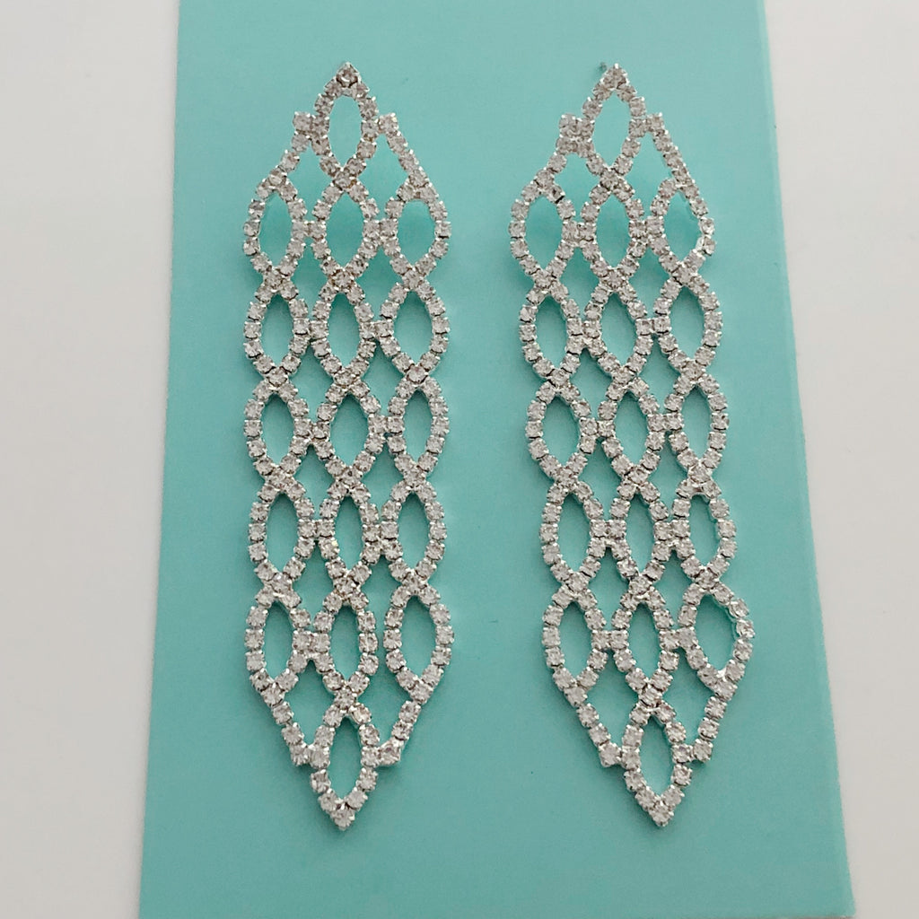 """ Stunner "" Clear Rhinestone Drop Earrings On Silver Tone"