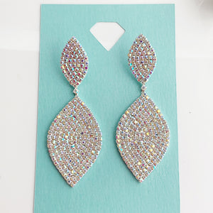 """ Want It All "" AB Iridescent Crystal Rhinestone Earrings On Silver Tone"