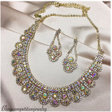 """ Beauty "" AB Iridescent Rhinestone Necklace Combo on Gold Tone"