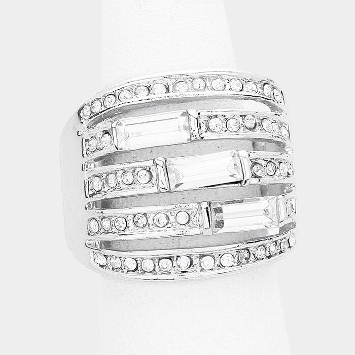 """ Pave the Way"" Pave Clear Crystal Rhinestone Pave Stretch Cocktail Ring On Silver Tone"