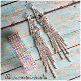 """ Hit The Angle "" Sexy AB Iridescent Long Fringe Earrings on Silver Tone"