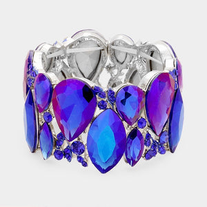 """ All The Bling "" Sappire Blue Crystal Stretch Bracelet on Silver Tone"