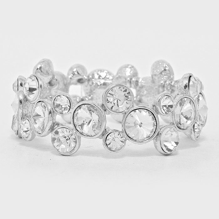 """ Bubbly Time"" Bubble Clear Crystal Stretch Bracelet On Silver Tone"