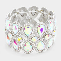 """Lucky Girl "" AB Iridescent Crystal Stretch Bracelet on Silver Tone"