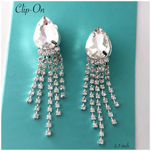 """ Happiness "" Crystal Tear Clear Rhinestone Clip On Earrings"