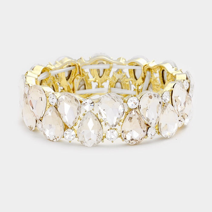 """ Wild Card "" Clear Crystal Teardrop Stretch Bracelet on Gold Tone"