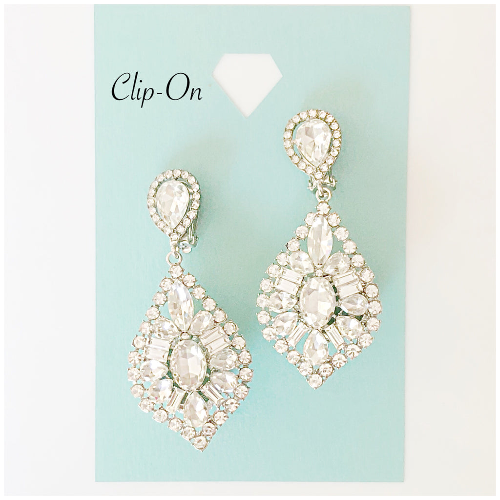 """ Classy "" Clear Rhinestone Clip On Earrings Silver Tone"