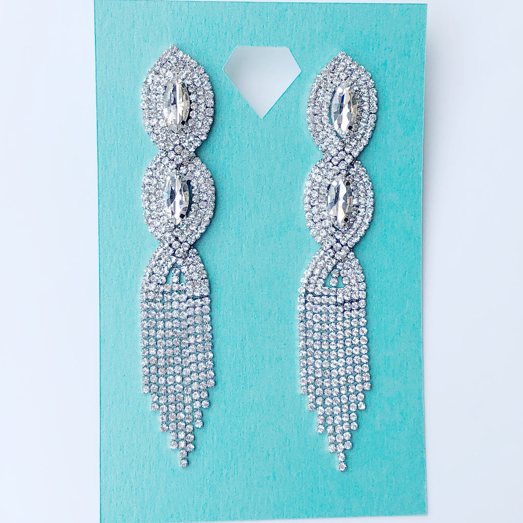 """ Cali Girl "" Clear Rhinestone Twist Fringe Earrings on Silver Tone"
