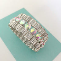 """ After Party "" AB Iridescent Crystal Stretch Bracelet On Silver Tone"