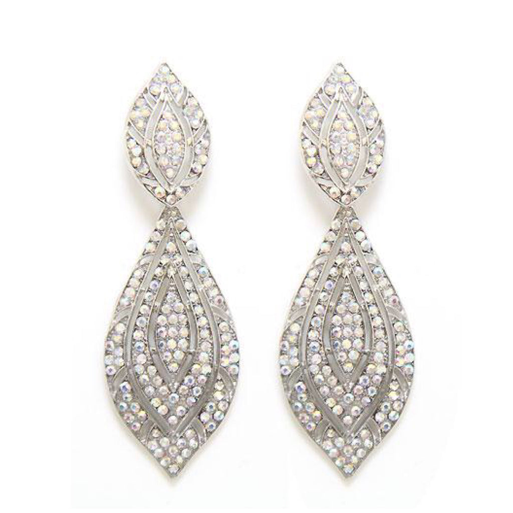 """ Flyer "" AB Iridescent Pave Earrings on Silver Tone"