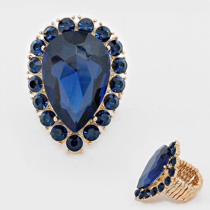 """ Tears Of Joy "" Blue Teardrop Crystal Stretch Ring On Gold Tone"