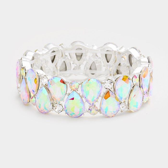 """ Wild Card "" AB Iridescent Teardrop Stretch bracelet on Silver Tone"