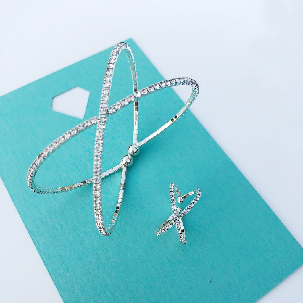 """ X Marks The Spot "" Clear Rhinestone Bracelet 2 Piece Set"