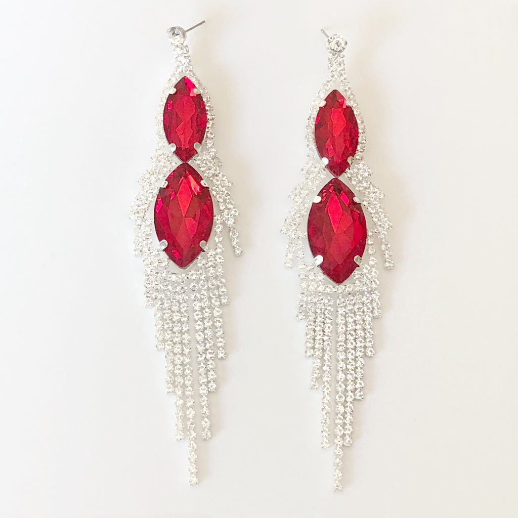 """ Magic "" Red Crystal Marquise Drop Chandelier Earring"