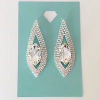 """ Figure Pro "" Clear Marquise Crystal Rhinestone Drop Earrings on Silver Tone"