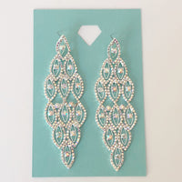 """ Icing "" AB Iridescent Rhinestone Earrings on Silver Tone"