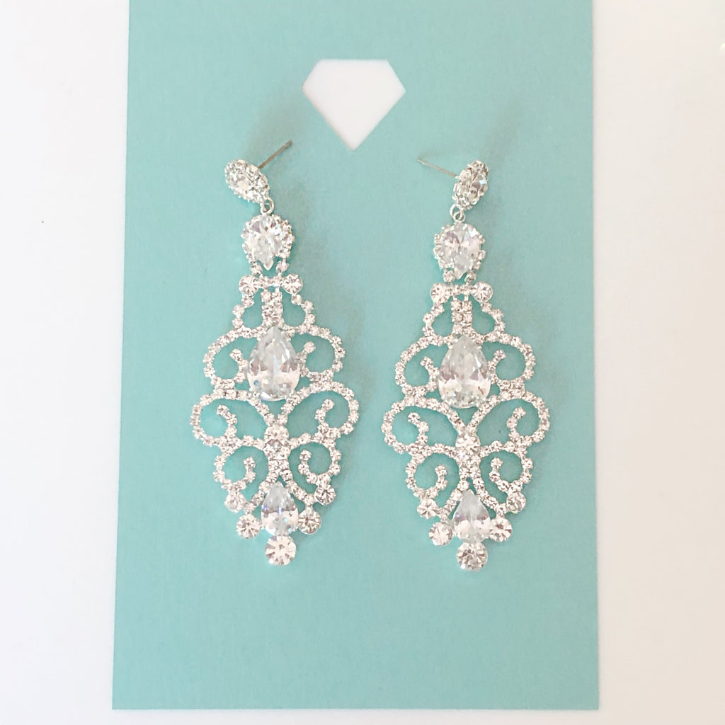 """ Blossom "" Clear Rhinestone Earrings Silver Tone"