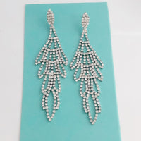 """ Already Won "" Clear Rhinestone Earrings on Silver tone"