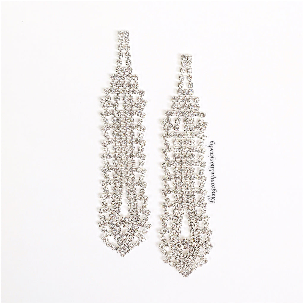 """ On Fire "" Clear Crystal Rhinestone Chandelier Earrings"