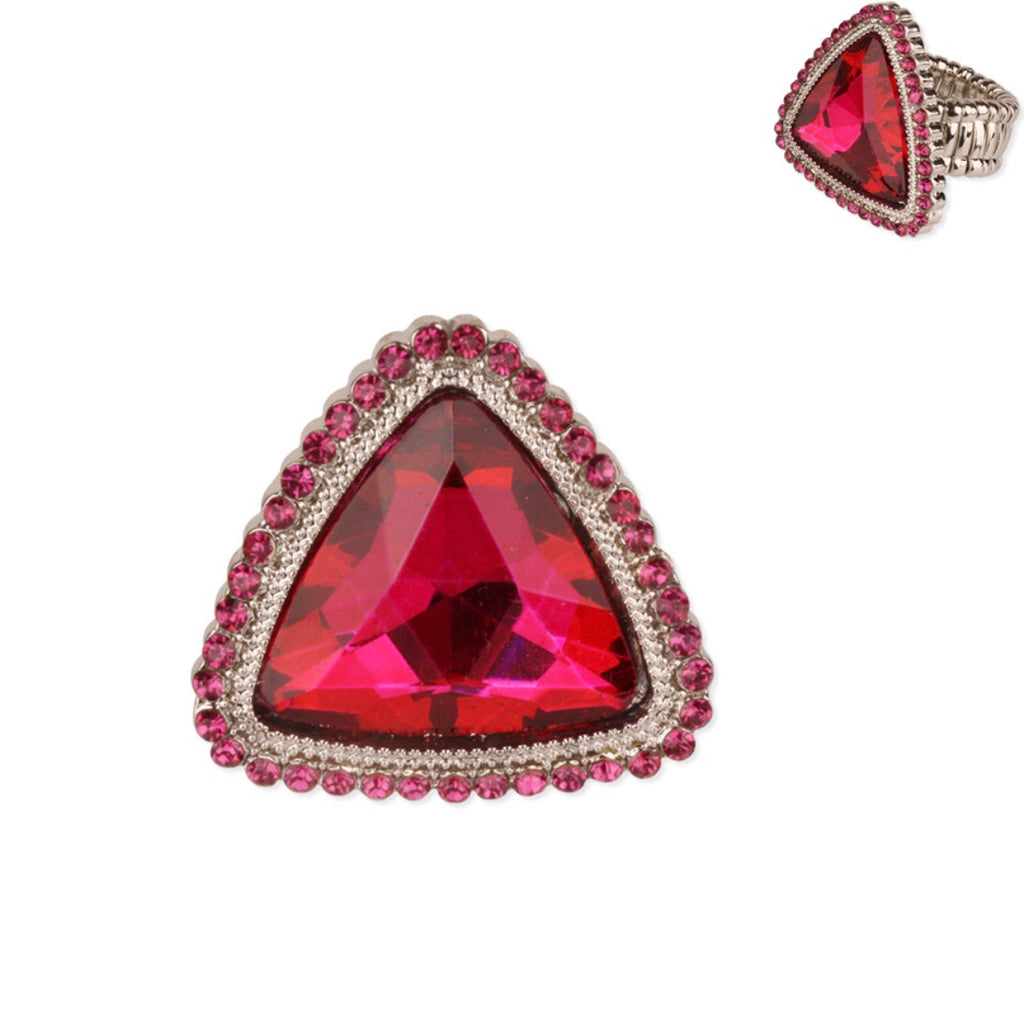 """ Your Time "" Fuchsia Pink Crystal Rhinestone Stretch Ring on Silver Tone"