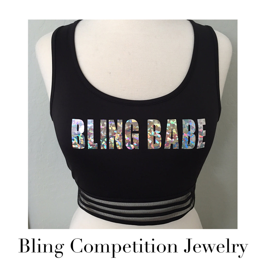 """ Bling Babe Tank "" Medium Retro Hologram Bling Babe Workout Crop Tank with Surprise Earrings"