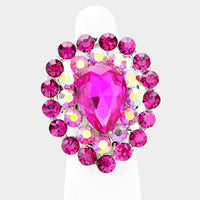 """ Bejeweled "" Fuchsia Pink Rhinestone Stretch Ring on Silver Tone"