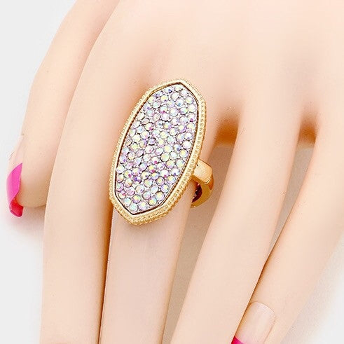 """ Charmed "" Pave Plate AB Iridescent Ring on Gold Tone"