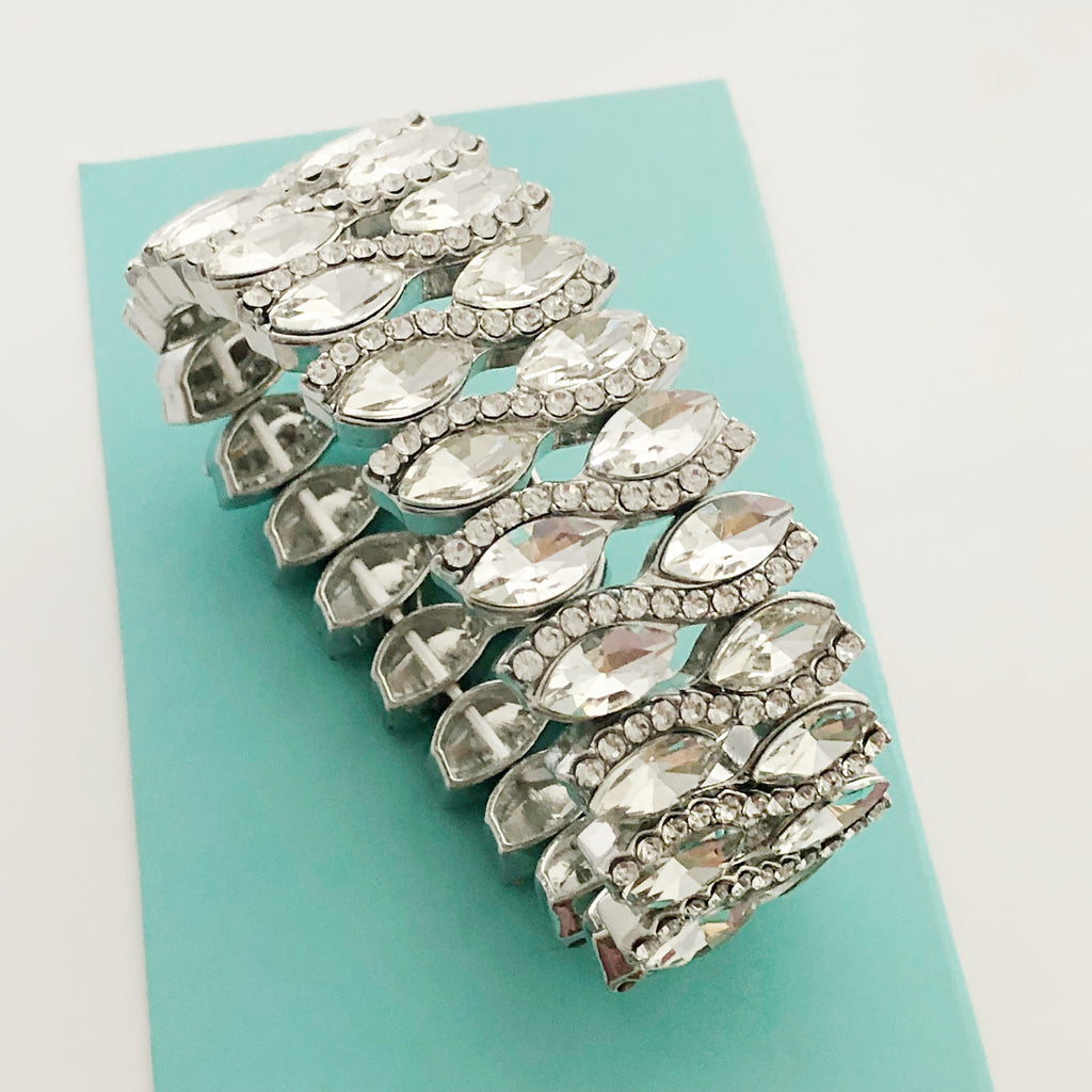 """ After Party "" Clear Crystal Rhinestone Stretch Bracelet On Silver Tone"