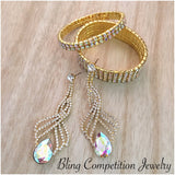 """ Olympia "" AB Iridescent Crystal Rhinestone earrings on Gold Tone"