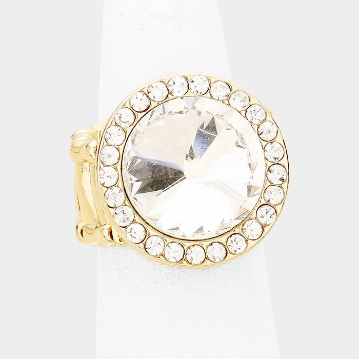 """ Callouts "" Clear Crystal Rhinestone Stretch Ring on Gold Tone"