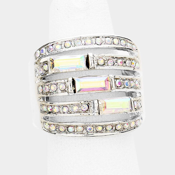 """ Pave the Way"" AB Iridescent Rhinestone Pave Stretch Cocktail Ring On Silver Tone"