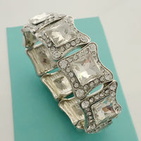 """ Glam ""  Clear Teardrop Crystal Stretch Bracelet On Silver Tone"