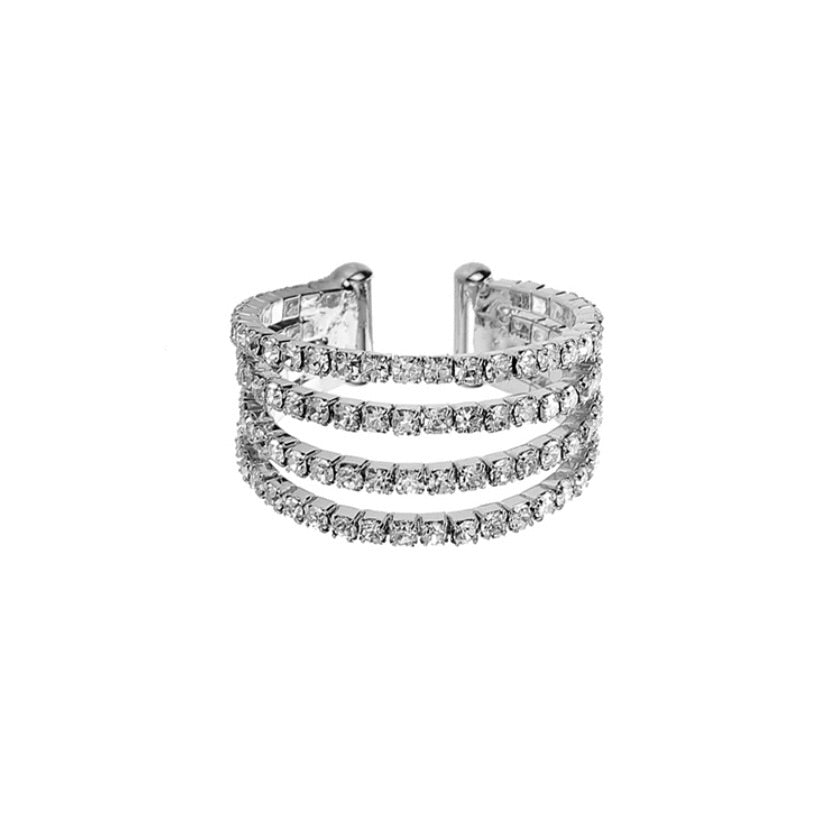 """ Burst ""Clear Rhinestone Adjustable Ring On Silver Tone"