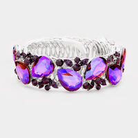 """ Purple Passion "" Purple Crystal Rhinestone Adjustable Bracelet"