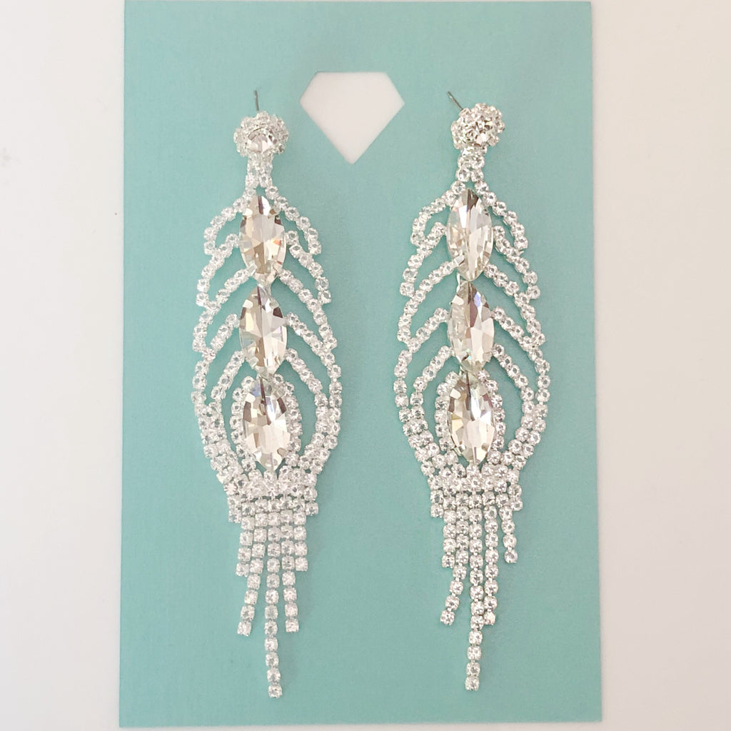 """ Champagne "" Drop Clear Rhinstone Chandelier Earrings on Silver Tone"