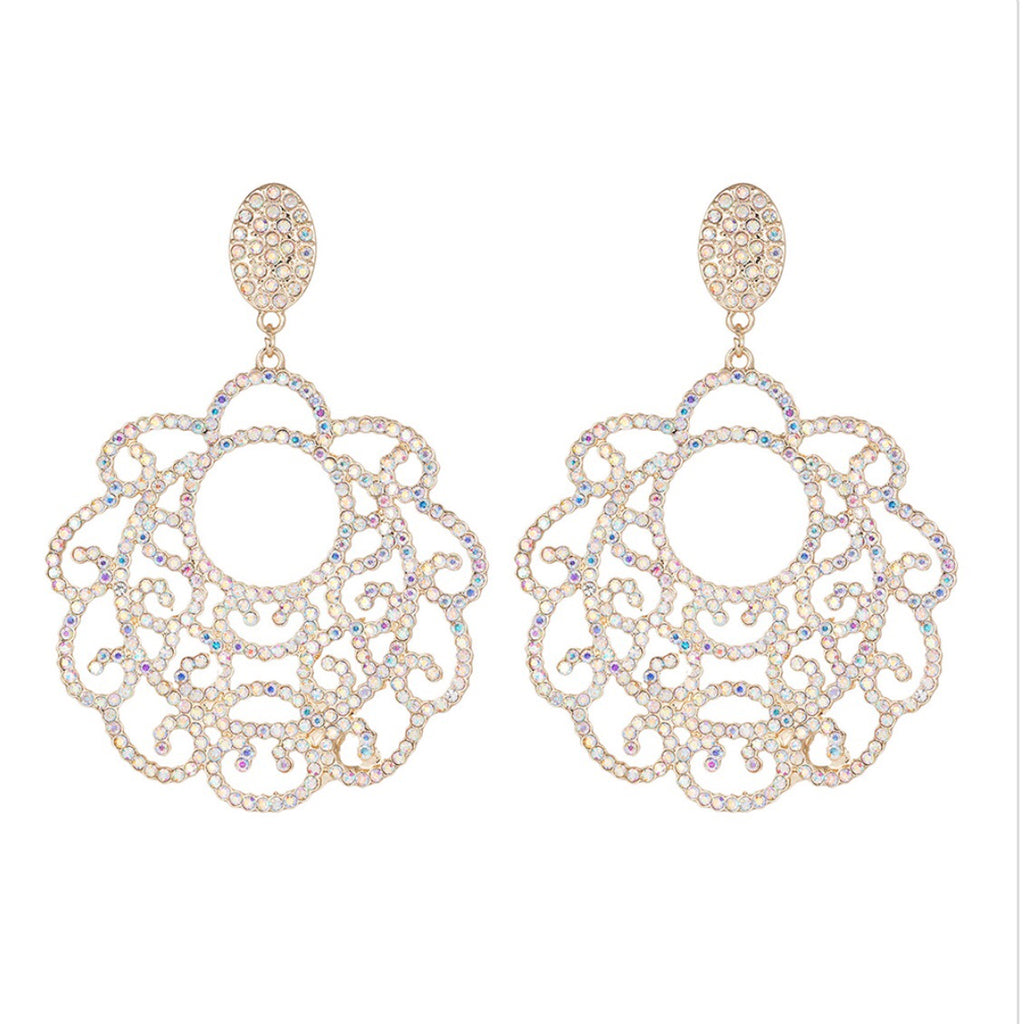 """ Darring "" Crystal AB Iridescent Chandelier Earrings Gold Tone"