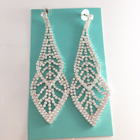 """ Floating On Air "" Drop Clear Rhinestone Earrings on Silver Tone"