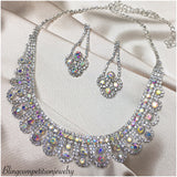 """ Beauty "" AB Iridescent Rhinestone Necklace Combo"