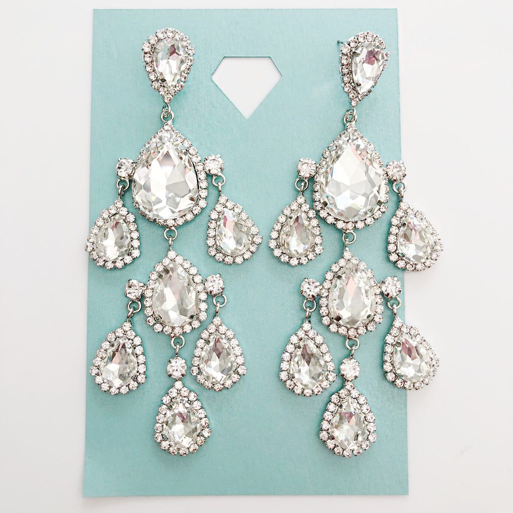 """ Lights On Me "" Clear Crystal Rhinestone Drop Earrings On Silver Tone"