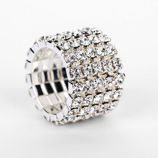 """ Line Em' Up""  5 Line Silver Rhinestone Stretch Cocktail Ring On Silver Tone"