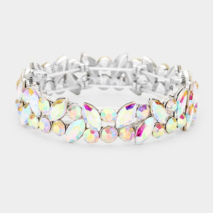 """ Be Mine "" AB Iridescent Crystal Stretch Bracelet on Silver Tone"