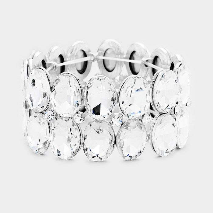 """ Glam "" Clear Crystal Rhinestone Stretch Bracelet on Silver Tone"