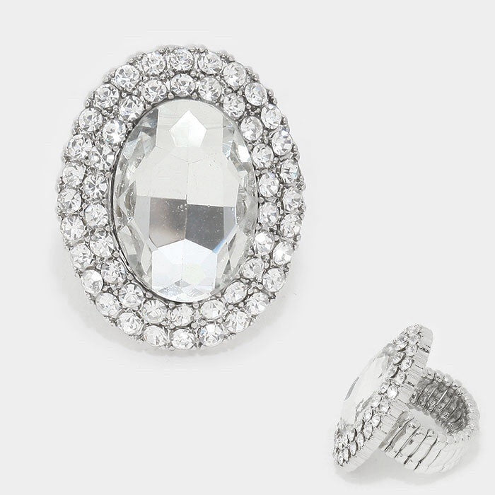 """ Come Hither"" Oval Clear Crystal Rhinestone Pave Stretch Cocktail Ring On Silver Tone"