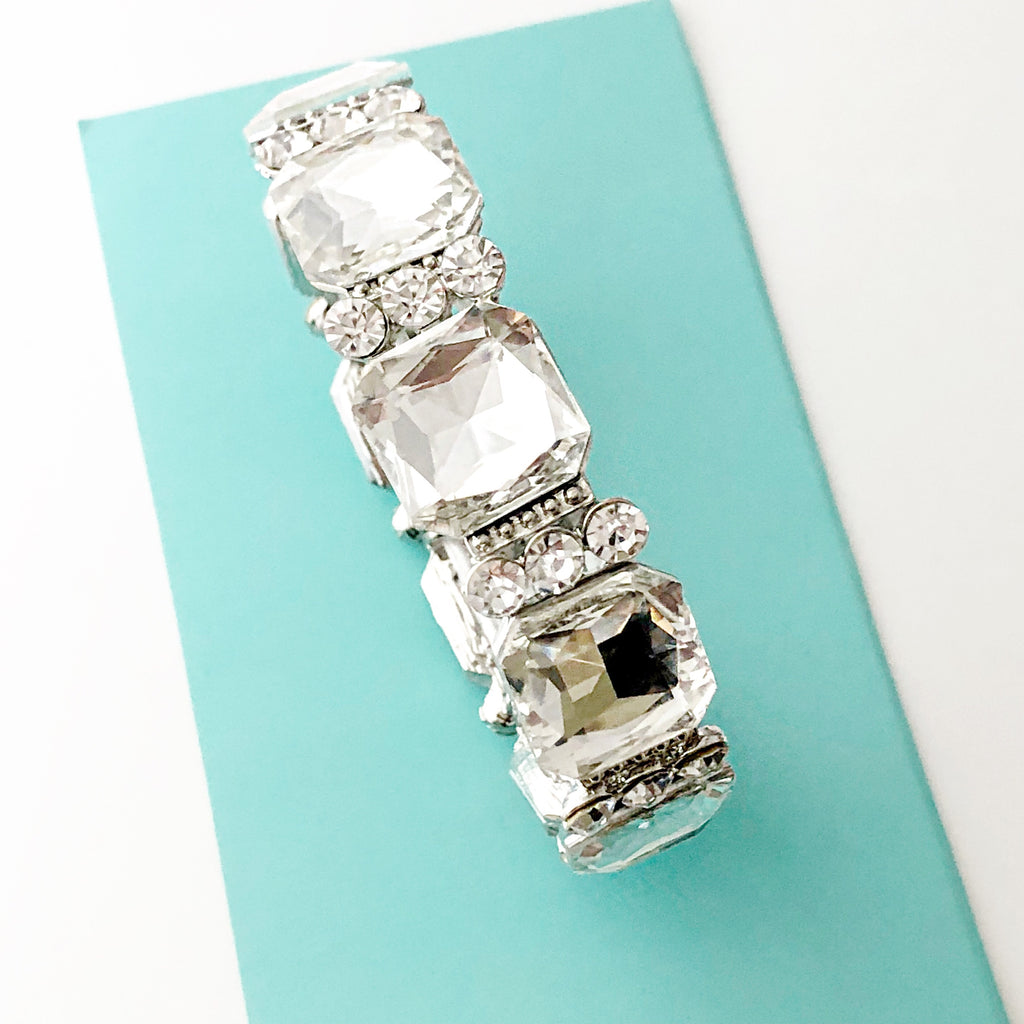 """ Eye on The Prize "" Clear Crystal Square Stretch Bracelet On Silver Tone"
