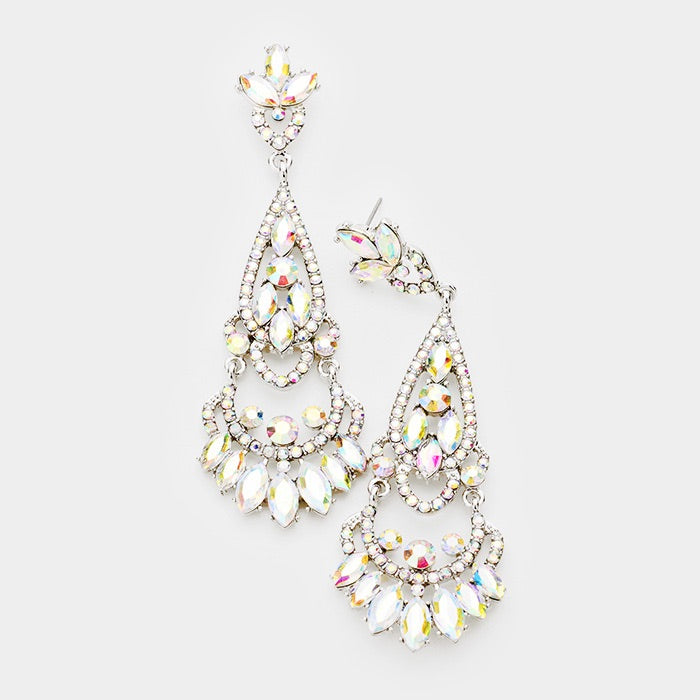""" Glitter Girl "" AB Iridescent Rhinestone Chandelier Earrings on Silver Tone"
